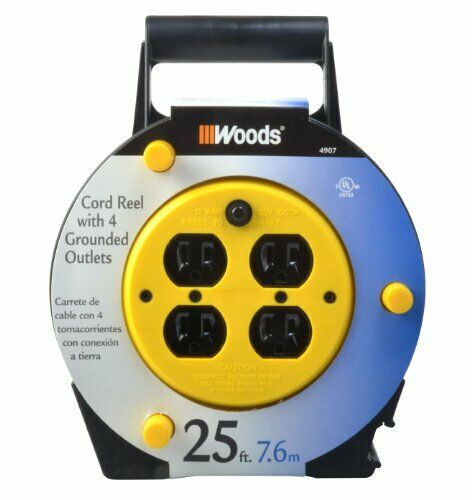 Woods 4907 Extension Cord Reel with 4-Outlets 16//3 SJTW and 12A Circuit Break...