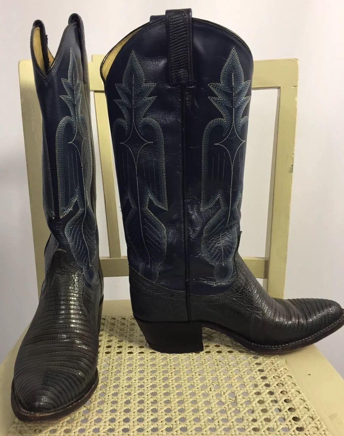 DAN POST Exotic Navy bluee Teju Lizard & Leather Western Cowboy Boots Unique 5.5M