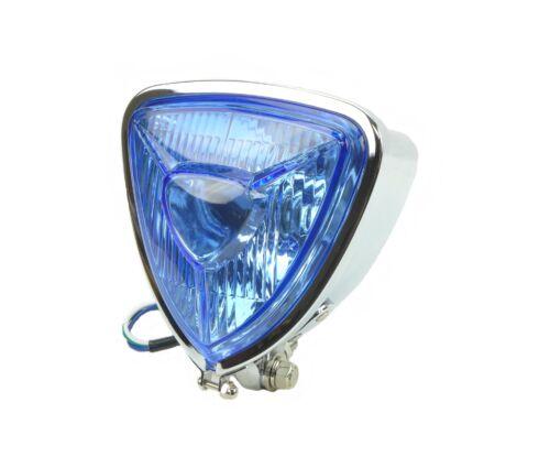 Aris Replica Triangle Headlight Chrome 12V Blue Lens Bottom Mount Chopper Bobber
