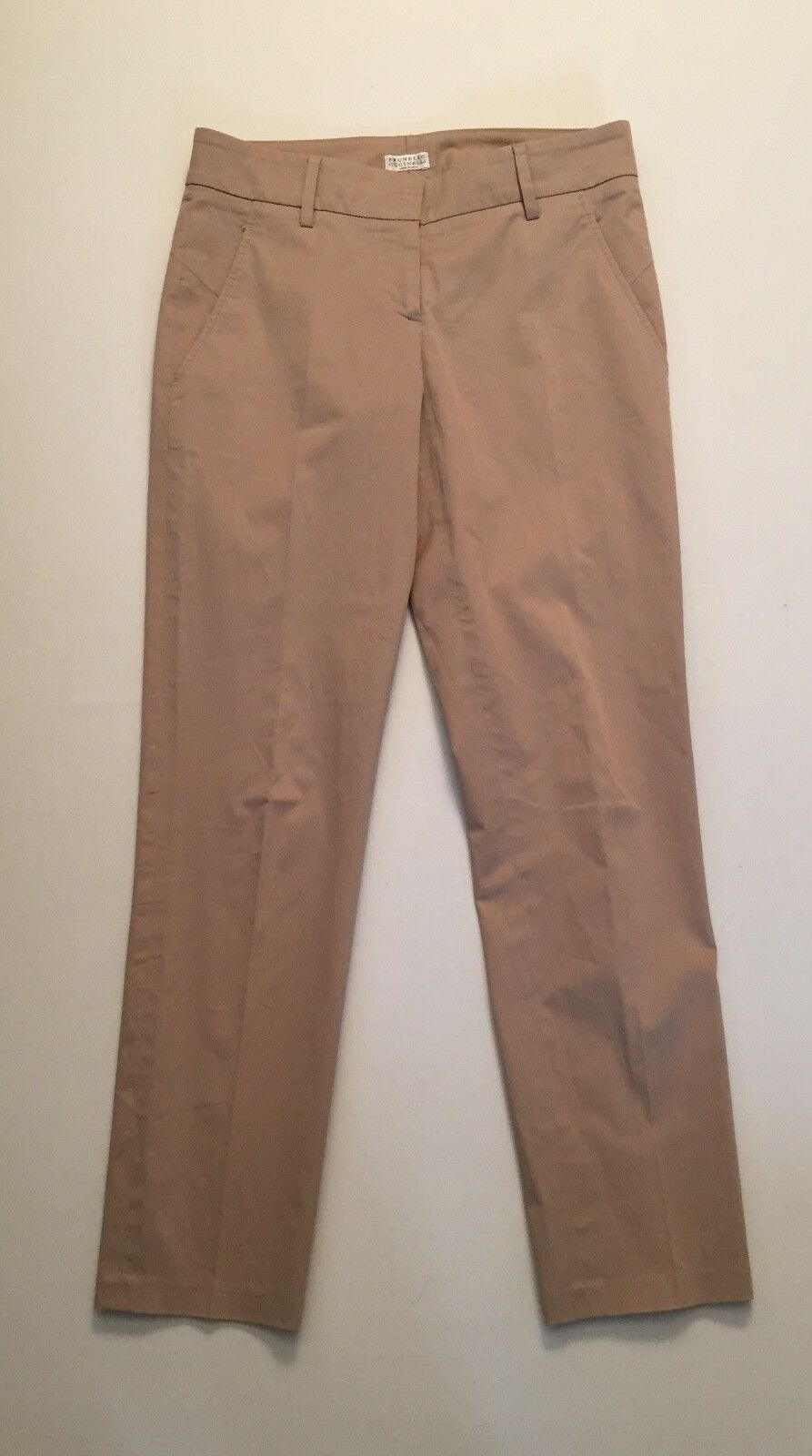 Brunello Cucinelli Gunex Cotton Slim Leg Tan Stretch Pants US Sz 4