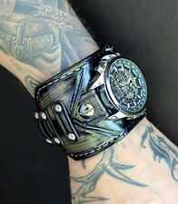 Frogged leather watch, Leather watch band, Steampunk watch, Watch strap