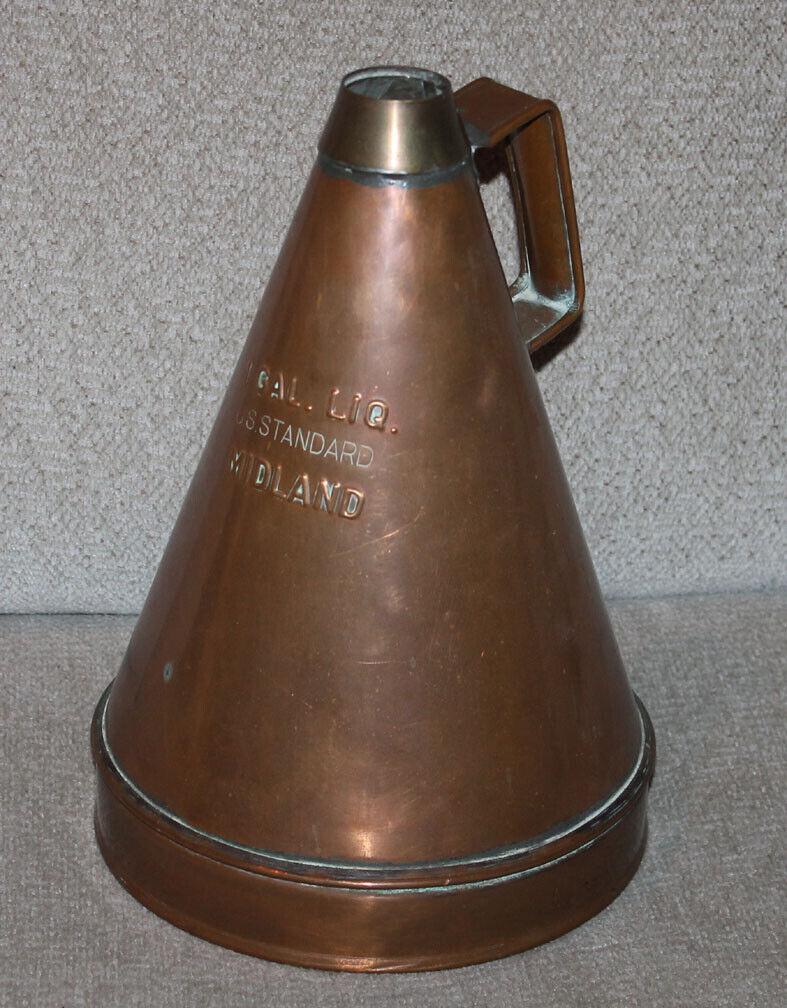 Antique & Unique One Gallon Midland CUIVRE CARTOUCHE carafe US Standard entonnoir