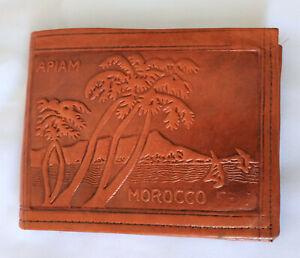 Portefeuilles-marron-Cuir-veritable-Homme-Femme-Fait-main-Maroc