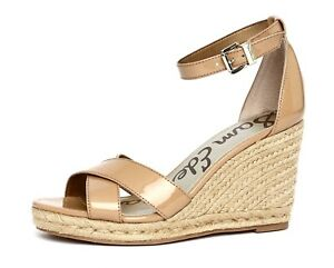5859fcbb5c5 Sam Edelman Brenda Women s Almond Patent Leather Wedge Sandal Sz 9.5 ...
