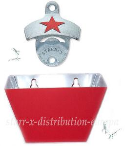 Rojo-Star-orig-EE-UU-x-pared-abrebotellas-colector-de-Tapon-Botella-Casa-Barra