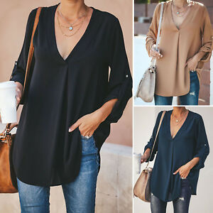 Plus-Size-Women-V-Neck-Blouse-Casual-Roll-Tab-Sleeve-Loose-Plain-Basic-Top-Tees