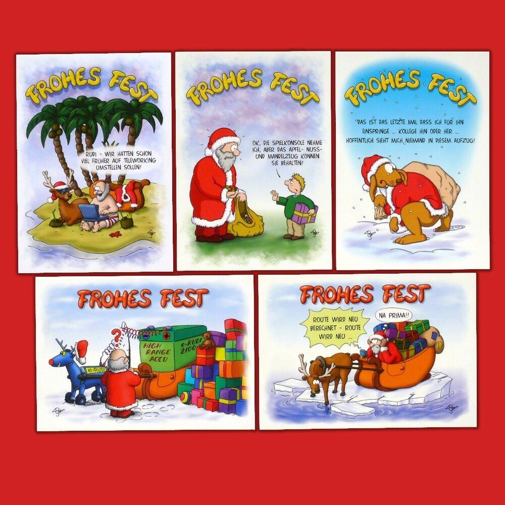 10 25 50 100 500 witzige Weihnachtskarten, Postkarten - lustige Cartoons, Humor   | Outlet Online  | Sonderangebot