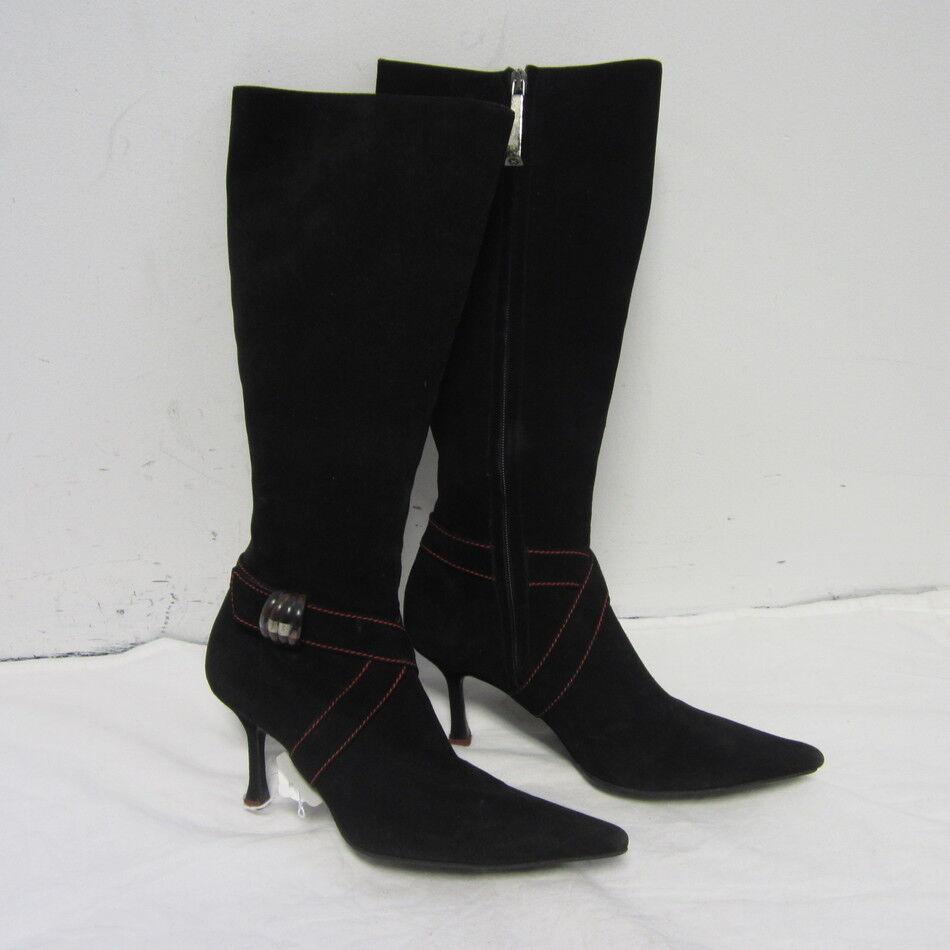ESCADA black tall suede pointy heel heel heel boots with faux side buckle sz 38. cute 225d66