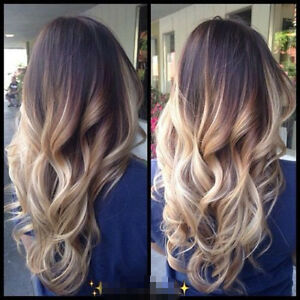dip dye clip in ombre hair extensions synthetic straight curly Dirty Blonde Extensions Blonde Ombre Extensions