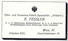 E.Fessler Wien OFEN-& TONWAREN-FABRIK Historische Annonce 1908
