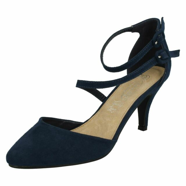 0fee959214f4e Ladies Spot on Mid Heel Strappy Court Shoes F9657 Navy 3 UK Standard ...