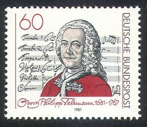 Germany-1981-Georg-Telemann-Music-Composer-People-Musical-Score-1v-n31595
