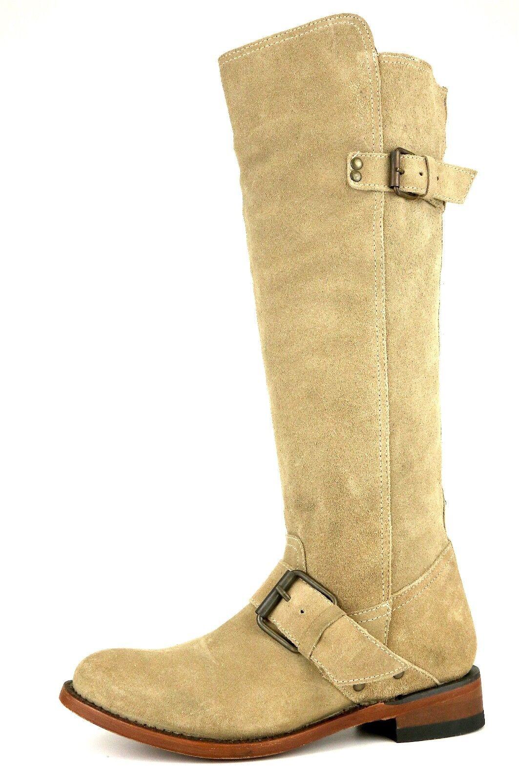Dolce Vita Over Knee Suede Buckle Boot Beige Women Sz 6.5 5241 *