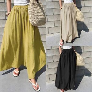 ZANZEA-Femme-Coton-Taille-elastique-Poche-Loisir-Ample-Jambe-Large-Pantalon-Plus