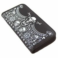 Loungefly Skull Bandana Faux Black Leather Zip-around Accordion Wallet