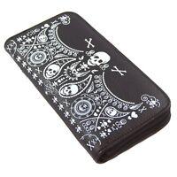 Loungefly Skull Bandana Faux Black Leather Zip-around Accordion Wallet