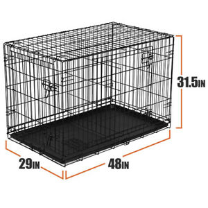 Vibrant-Life-EXTRA-LARGE-Durable-Dog-Kennels-Crate-Metal-W-Removable-Lid