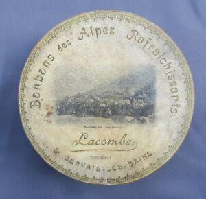 Boite-publicitaire-BONBONS-DES-ALPES-LACOMBE-St-GERVAIS-LES-BAINS-old-french-box
