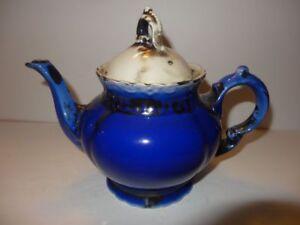 Vintage Bavaria Blue White Black Teapot Odd Color