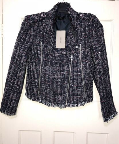 Rrp£80 Frayed Size Jacket Weave Edges Textured S Zara Sequinned Bnwt With Blazer qg6PPf