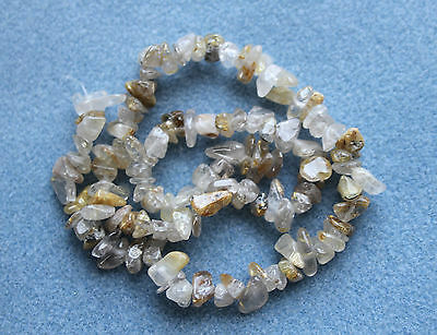 Rutilated Quartz Chip Beads 6-11mm - 16 inches Strand