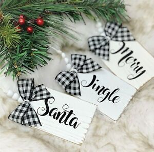 Handmade Set Of Three Wooden Farmhouse Country Christmas Bead Tag Ornaments Ebay