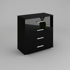 kommode sideboard anrichte konsole schrank beti in schwarz hochglanz oder matt ebay. Black Bedroom Furniture Sets. Home Design Ideas