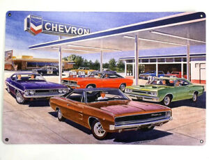 """18/"""" x 12/"""" Chevron Gas Station Scene Metal Sign w// Dodge Challenger /& Charger"""