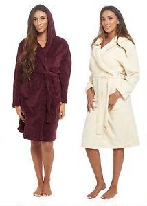 New Soft Cosy Fleece Dressing Gown Plum Bath Robe Hooded Pockets Warm Ladies