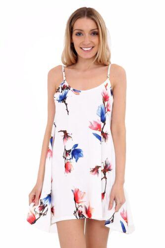 Ladies Womens Floral Printed Cami Summer Swing Mini Dress Top Plus Size 8-26