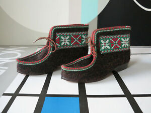 Details zu Stichelloden Vulka Elastik Damen Hausschuhe 70er True VINTAGE 70s Schuhe Stiefel
