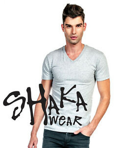 Shaka-Wear-V-Neck-Plain-Basic-Blank-Jersey-T-Shirt-Tee