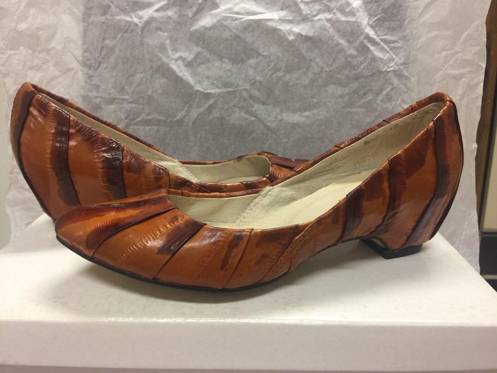 NIB Paolo Iantorno Eel Skin Orange/Brown FLAT 35/5