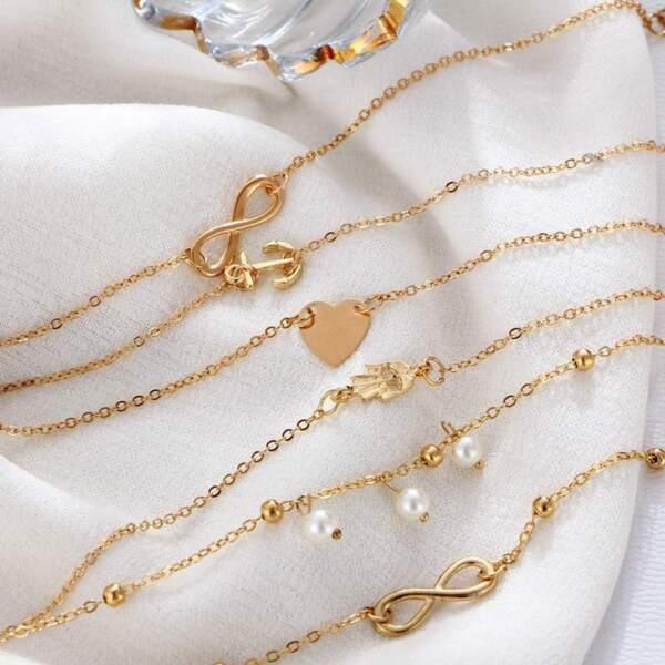 5 Stück Unendlichkeits-amulett Fußkettchen Fußkette Sandale Strand Gold Silber Weitere Rabatte üBerraschungen