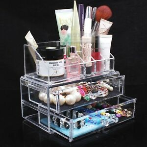 Image is loading Clear-Acrylic-Makeup-Case-Cosmetic-Organizer-Holder-Drawers - & Clear Acrylic Makeup Case Cosmetic Organizer Holder Drawers Jewelry ...