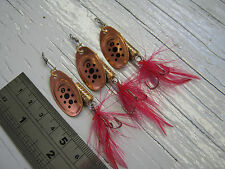 D130. 3 Copper Pepper Spot Spinners 5g #2 Lures Bait Bass Salmon Pike Sea Trout.