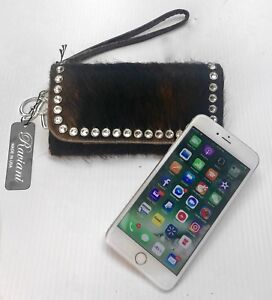 Raviani-iPhone-7-8-Plus-Cellphone-wallet-Hair-on-Cowhide-crystals-MADE-IN-USA