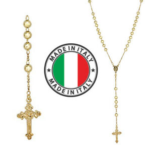 """Rosary Beads Necklace 24"""" 14k Gold Over Solid 925 Sterling Silver Unisex Italy"""