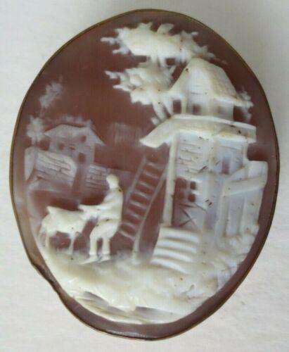 Victorian Antique Shell Cameo Building Farm Scene