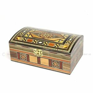Small Wooden Handmade Syrian Inlaid Mosaic Gift Trinket jewellery