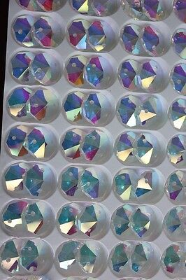 50/Lot color AB Crystal Chandelier lamp Part 14MM Glass Octagon Rainbow bead NEW