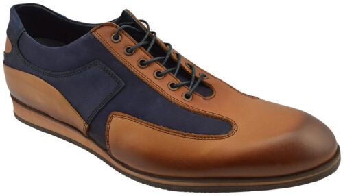 $230 NUKTE Blue Brown Leather Lace Up Casual Sneakers Men Shoes NEW COLLECTION