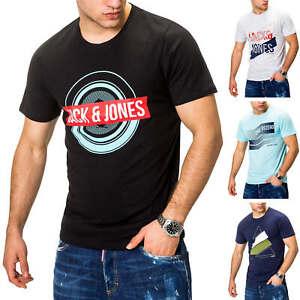Jack-amp-Jones-T-shirt-Hommes-Shirt-manches-courtes-Shirt-Casual-Top-Print-O-Neck-environ