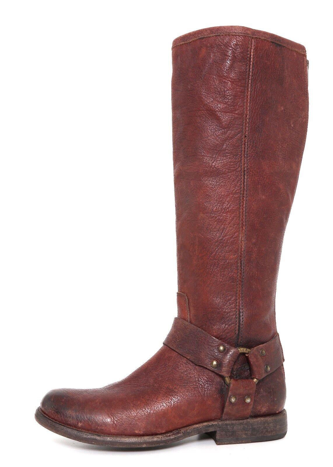 Frye Phillip Harness Tall bota de cuero marrón para para para mujer talla 6 B 6674   distribución global