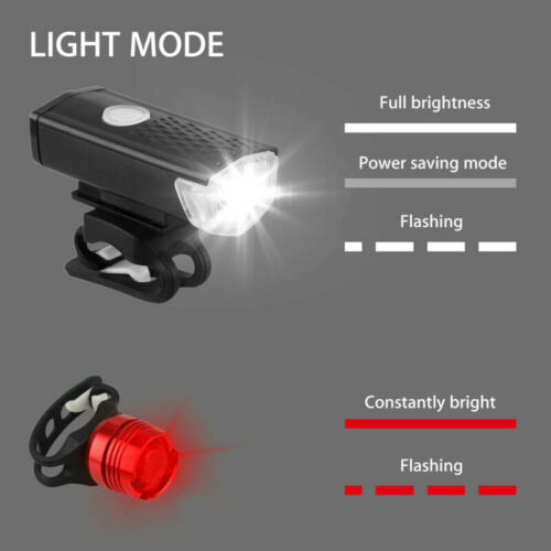 Rear Tail Light Se USB Rechargeable Bike Headlight LED Bicycle Front Head Lamp
