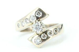 Brillant Gold Ring 750 Weißgold 18K modern 11 Brillanten ca 0,58 ct. SI1 H Gr 53