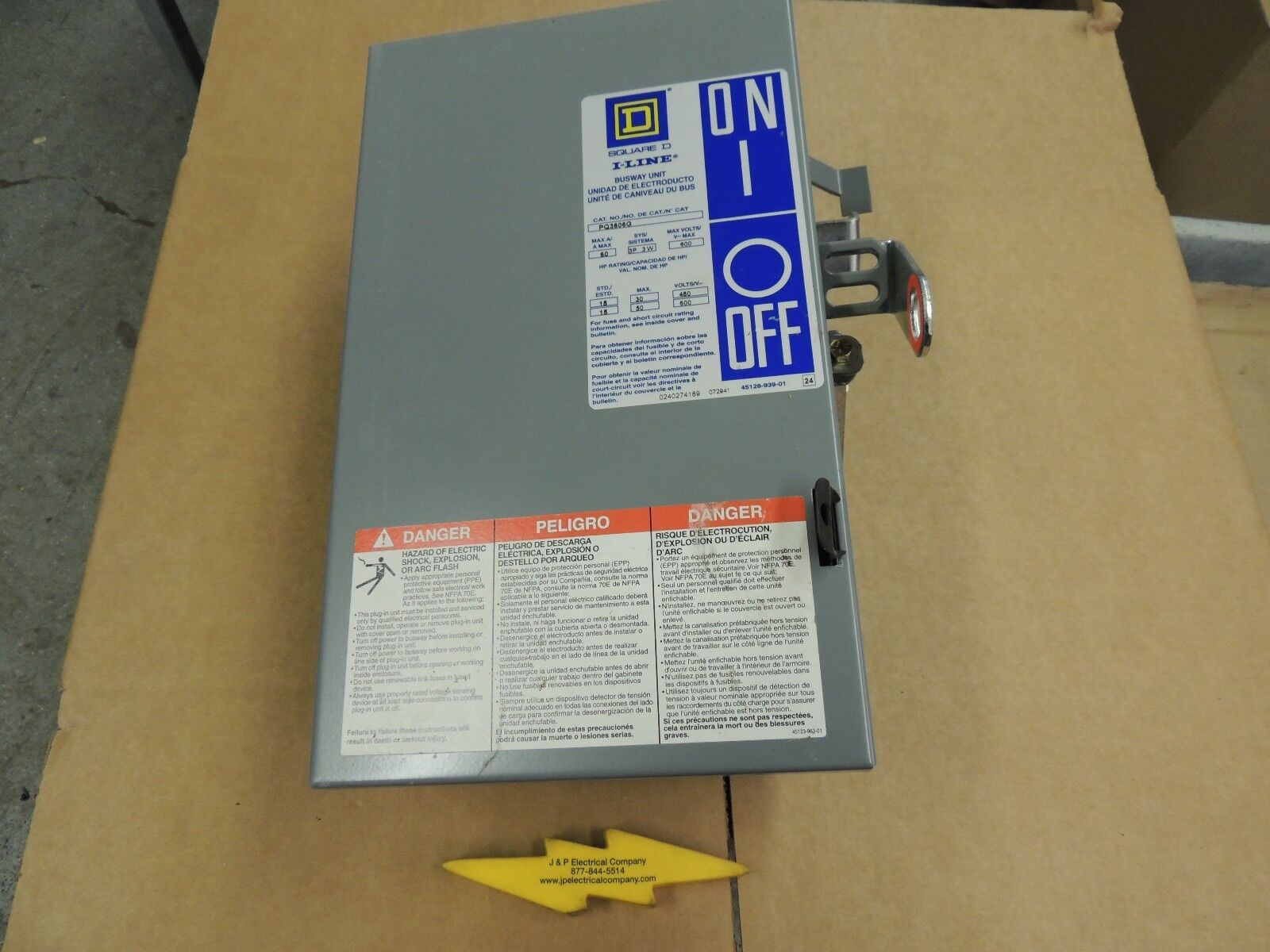 PQ3606G, SQUARE D BUSWAY SWITCH PLUG, RECON 60 AMP, 600V 3P 3W WITH GROUND