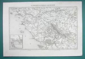 1846 MAP FRANCE Environs of Nantes La Rochelle Angers Quiberon