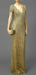 6-995-Marchesa-Bugle-Beaded-Fringe-Lace-Gold-Long-Dress-Evening-Gown-IT-42-US-6