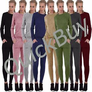 a5ac29107a88 Image is loading New-Womens-Ladies-Loungewear-Set-Sweatshirt-Joggers-Fine-